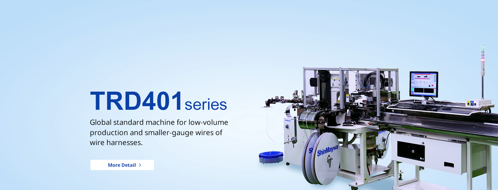 TRD401 series Global standard machine for low-volume production and smaller-gauge wires of wire harnesses.